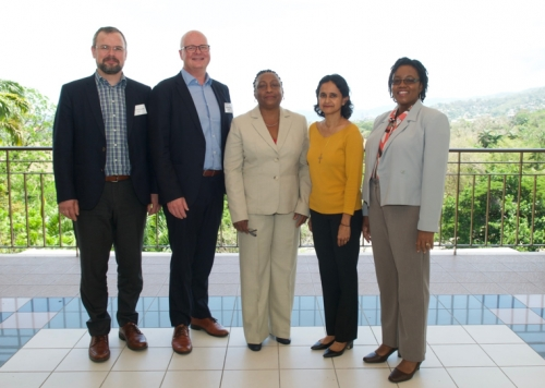On-site Representatives of the Workshop Sponsors for the Value Chain Management Training Workshop (from left to right): Dr. Dadi Mar Kristofersson (UNU-FTP and University of Iceland); Dr. Ogmundur Knutsson (UNU-FTP and University of Akureyri); Ms. Tullia Ible (CFTDI); Dr. Susan Singh-Renton (CRFM Secretariat); Dr. Sharon Hutchinson (UWI, St. Augustine Campus).