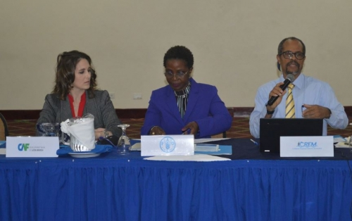 Mrs. Luciana Fainstain, Executive of the Development Bank of Latin America (CAF); Dr. Yvette Diei Ouadi, FAO Fishery and Aquaculture Officer and Secretary of Western Central Atlantic Fishery Commission; and Mr. Milton Haughton, CRFM Executive Director