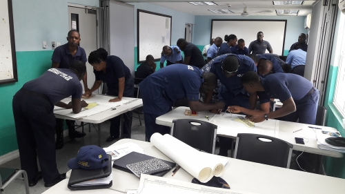 Course participants carrying out practical chart work